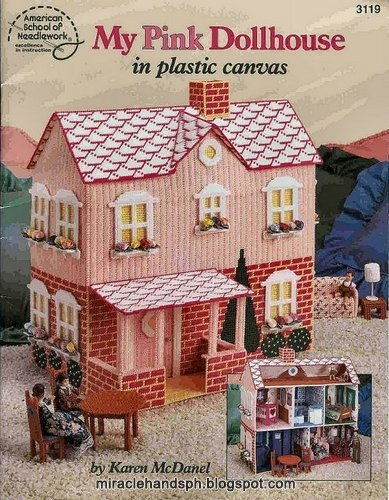 Free craft book: My pink dollhouse in plastic canvas ~ Miracle hands