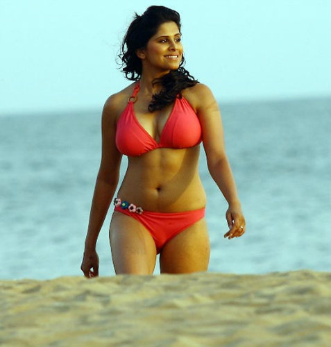 Sai Tamhankar Hot in Red Bikini Show Navel And Sexy Thigh